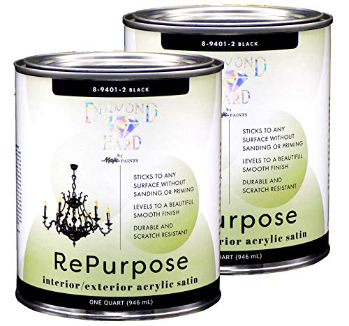 Majic Paints Interior/Exterior Satin Paint, RePurpose your Furniture, Cabinets, Glass, Metal, Tile, Wood and More, Black, 2-Quart
