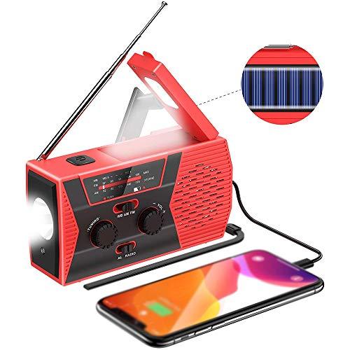 HLKJ Portable Radio, Auto Manivelle Radios d'urgence Powered Solaire Weather Radio avec Lampe De Poche LED 2000Mah Power Bank Chargeur USB Et SOS Alarme Lumière,Rouge