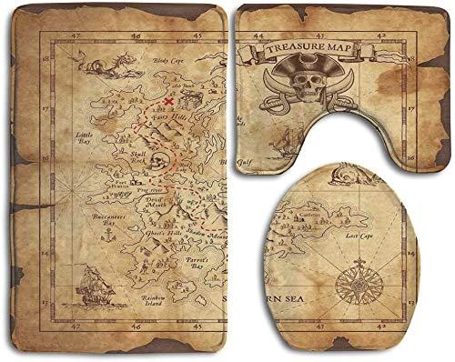 CoolsomeJies Super Detailed Treasure Map Grungy Rustic Pirates Gold Secret Sea History Bathroom Rug Mats Set 3 Piece,Funny Bathroom Rugs Graphic Bathroom Sets,Anti-Skid Toilet Mat Set