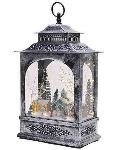 Christmas Concepts® - Linterna de Navidad con luces LED y pista de hielo en movimiento (40 cm)