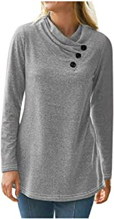 OULSEN Women Autumn Casual Blouse Crewneck Long Sleeve T-shirt Fashion Loose Solid Color Top Tee Shirts