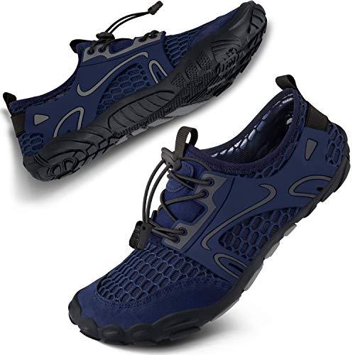 SEEKWAY Water Shoes Men Women Adult Quick-Dry Aqua Sock Barefoot for Beach Swim River Pool Lake Hiking Kayaking Surfing SP001(U) 423Blue Size 7.5 Women/6.5 Men