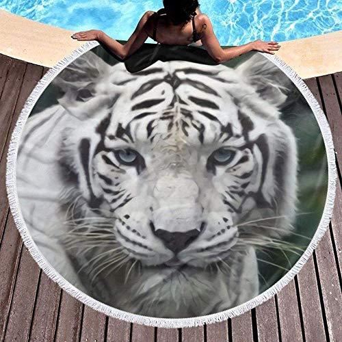Aspiradora de Mano Runde Strandtuch Weißer Tiger Yoga Quaste Wandteppich Saugfähiges Multifunktionales Handtuch Mikrofaser Strandschal Freizeit Picknick Matte Tagesdecke Tischdecke