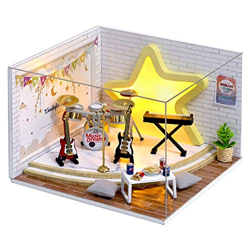Doll House Miniature Dollhouse Kit DIY Wooden Dollhouse Accessories with Musical Instrument Toy Plus Dust Proof Cover Model House Assembled Cabin Handcrafts Educational Toys for Kids Teens Adults