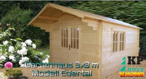 K+P Holz Gartenhaus 3 x 3 m Edertal Gartenhäuser Blockbohlenhaus 3 x 3 m 35mm
