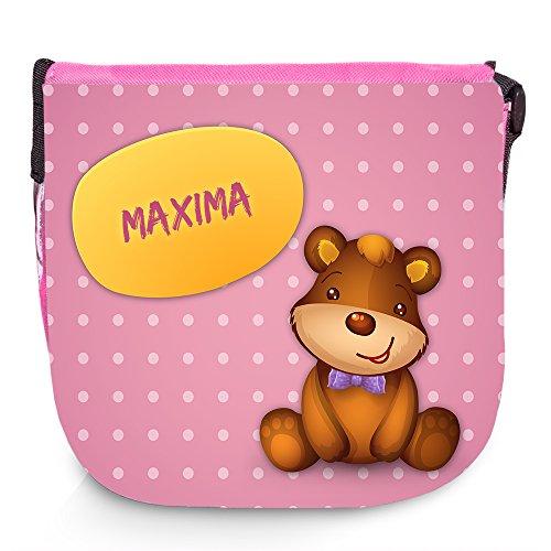 Umhängetasche mit Namen Maxima und süßem Bären-Motiv | Schultertasche für Mädchen