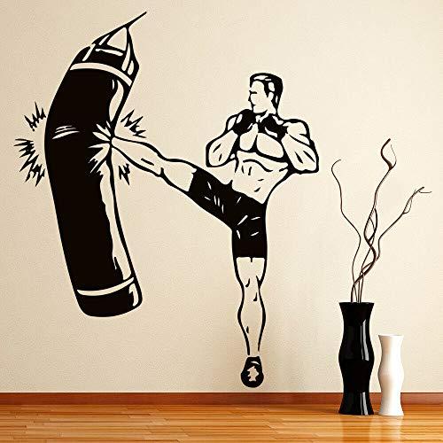 jiuyaomai Mountainbike Wandaufkleber Kickboxer Fighting Boxing Sports Gymnasium Man Kinderzimmer Kinderzimmer DIY Vinyl Wandaufkleber76X93Cm