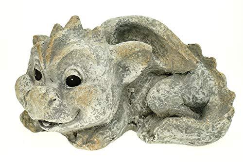 G. Wurm GmbH Süßer Garten Drache liegend Steinoptik 26 cm Figur Gartenfigur Glück Skulptur