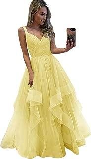 Jonlyc Women's A-Line Sleeveless V-Neck Tulle Long Prom Dress Evening Gowns