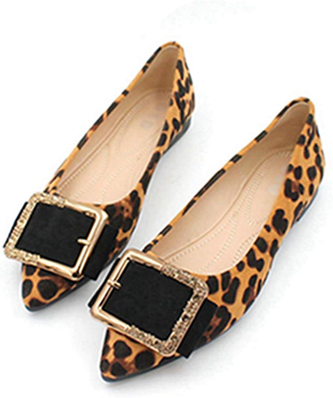 Owen Moll Women Flats, Fashion Leopard Print Women's Slip On Shallow Soft Ballet Flat shoes