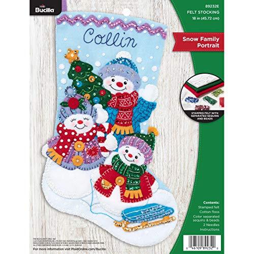 Bucilla Felt Applique Christmas Stocking Kit, 18', Snow Family Portrait