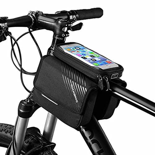 YZX Bolsa Bici, Bolsa de sillín para Montar en la viga Delantera para Bicicleta de montaña/Carretera, Bolsa para Tubo Superior Impermeable con Pantalla táctil para teléfono móvil Impermeable