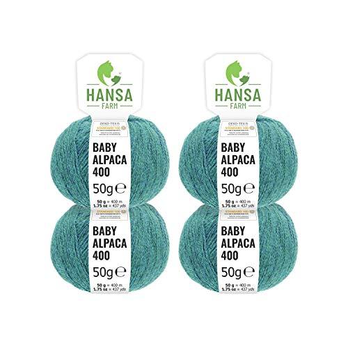 100% laine d'alpaga (bebé) dans 50+ couleurs (ne gratte pas) - Kit de 200g (4 x 50g) - Laine Baby alpaga pour tricot & crochet dans 6 épaisseurs de fil - bleu-vert (heather)