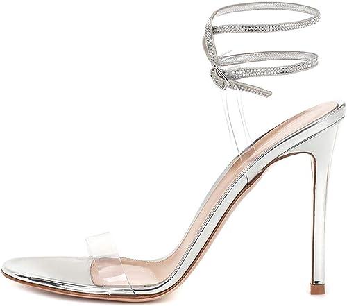 XLY Les Femmes claires PVC Open Toe Stiletto Sandales à Talons Hauts Bride à la Cheville Strass Parti Robe de mariée Pompes Chaussures,argent,45