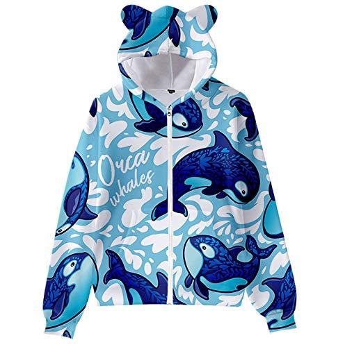 Janly Clearance Sale Blusa de manga larga para mujer, diseño de la vida marina, estampado de orejas de gato, manga larga, suéter con capucha para niños, para invierno, Navidad (azul claro-4XL)