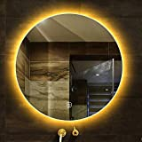 HZWLF Espejo de vanidad Redondo sin Marco Espejo con retroiluminación LED Baño en la Pared Dormitorio Espejo de Maquillaje con Interruptor táctil A Prueba de explosiones