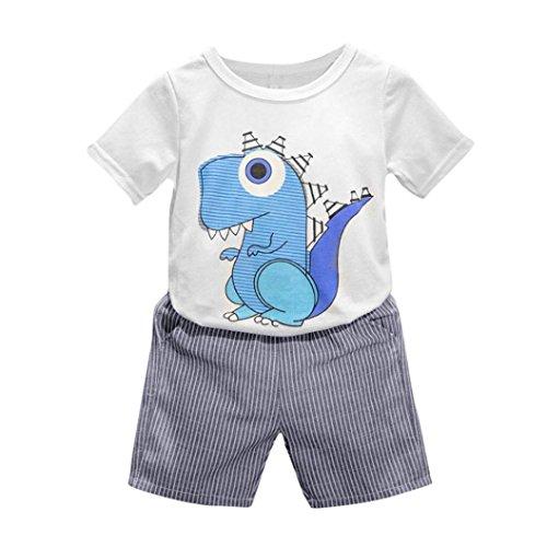 Vovotrade ★★★Tout-petit Enfant Filles Garçons Bébé Dinosaure de Garçons Cartoon PrintedT-shirt + Short Pantalon Vêtements Tenues Ensemble (Size:100, Blanc)