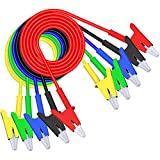 Goupchn 5PCS Alligator Clips Test Leads Dual Ended Crocodile Wire Cable with Insulators Clips Test Flexible Copper Cable for Electrical Testing 3.3ft/1m