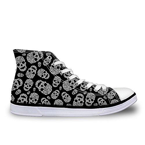 Flowerwalk - Zapatillas de lona para mujer, con cordones, cómodas, calaveras, calaveras, calaveras, calaveras, zapatillas de deporte, verano, moda, zapatos de ocio, calle, color Negro, talla 36 EU