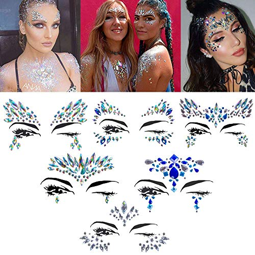 Halloween Face jewels festival Women Mermaid Face Gems Glitter 6 Sets Rhinestone Rave Festival Face Jewels,Crystals Face Stickers Eyes Face Body Temporary Tattoos