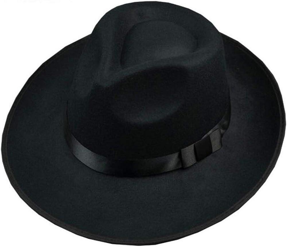 erioctry 1PCS Unisex Classic Black Wool Blend Fedora Hat Brim Flat Church Derby Cap
