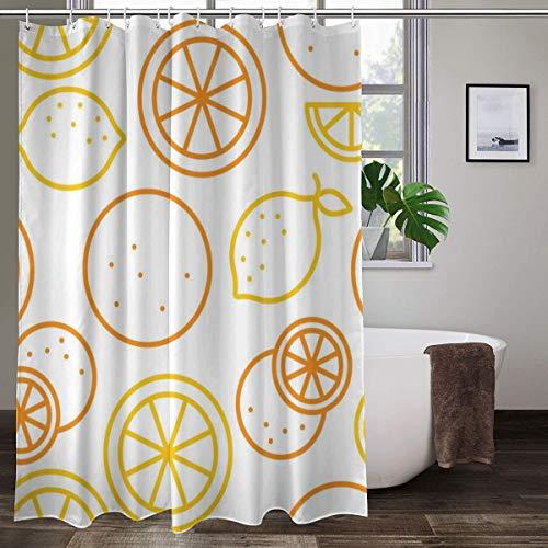 XCBN Cortinas de Ducha Dibujos Animados limón Naranja Impermeable Cortina de baño Tela mampara de baño decoración de bañera Cortinas de Ducha A2 180x200cm