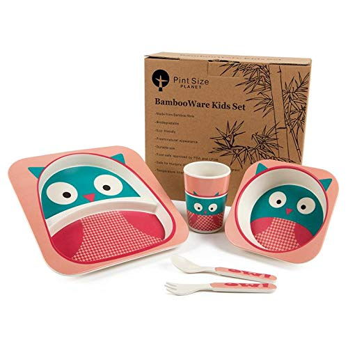Bamboo Kids Plates and Bowls Sets, Non Toxic & Eco Friendly, 5 Pcs Includes Toddler Plate Set of Plate, Bowl, Cup, Spoon & Fork, Cute Animal Designs, Dishwasher Safe (Pink Owl)
