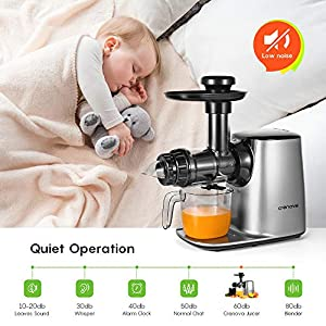 Crenova Slow Juicer, Cold Press Masticating Juicer with Quiet Motor, Reverse Function, Cleaning Brush, Fruit and…  