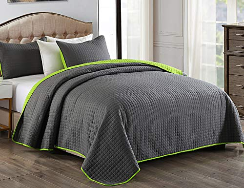 JML Quilt Set, 3 Piece Bedspreads Queen Size - Reversible Plaid Design - Brushed Microfiber Coverlet Set for All Season, Soft Lightweight and Shrink Resistant (88'x92', Charcoal Gray/Lime Green)