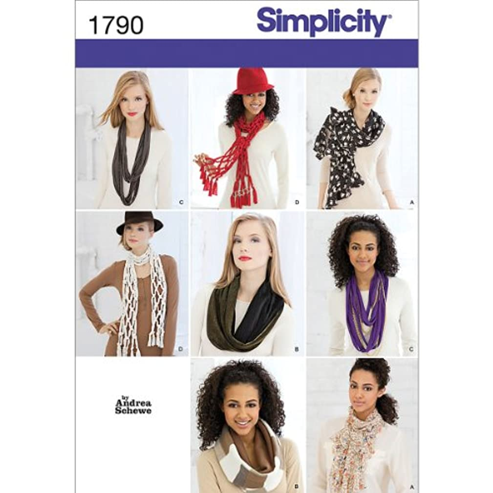 Simplicity 1790 Scarves Sewing Pattern, Size OS (One Size)