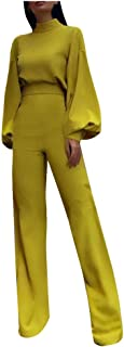 Women Fashion Trousers Long-Sleeved High-Necked Halter Casual One-Piece Jumpsuit