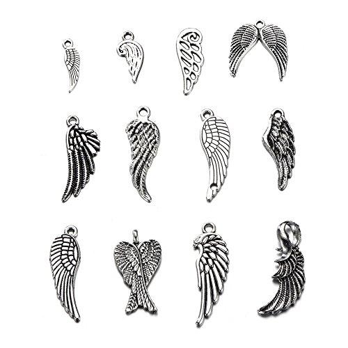 36pcs Charms angel wings Antique Making pendant fit,Vintage Tibetan Silver,DIY bracelet necklace (36pcs)