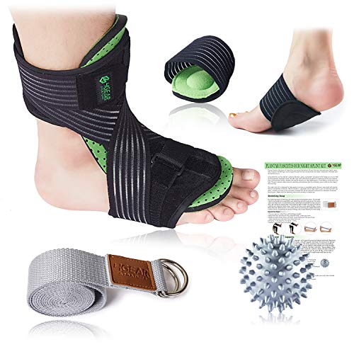 Plantar Fasciitis Night Splint Kit - 5pcs- Adjustable Foot Dorsal Night Splint, Cushioned Arch Supports, Stretching Strap, Spiky Massage Ball & Instruction Manual- Fast Foot & Heel Pain Relief