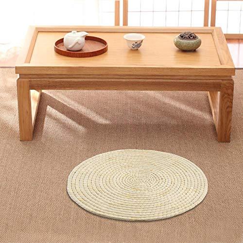 SOWLFE (33 – 48 cm) Cojín redondo japonés tradicional de tatami – Naturaleza hecho a mano tejido de paja para Zen,Yoga Practice, Meditación Buda Espesar meditación Yoga Mat
