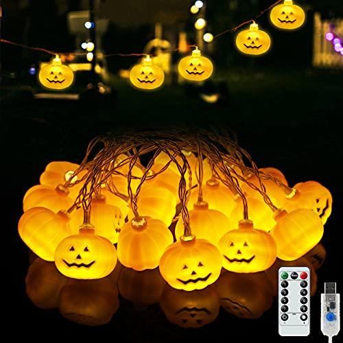 Grandi Luci di Zucca, 3.5 M 20 LED 8 Modalità Luci di Zucca di Halloween con Telecomando, Luci USB di Halloween per Decorazioni per Feste di Negozi di Casa all'Aperto/Interni (4.1x3.6 CM)