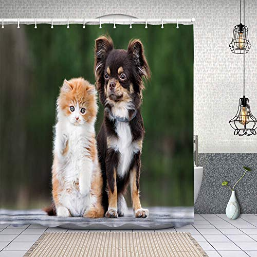 Duschvorhang, Wassermelone Polyester Wasserabweisend Shower Curtain Anti-Schimmel Duschgardine, für Badewanne & Bathroom 183 cmx183 cm