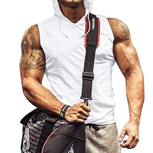 Men Workout Tank Tops PlusSleeveless Hoodie WorkoutClothes Gym Vest White L