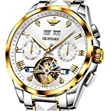 Relojes automáticos de acero inoxidable Tourbillon reloj esqueleto automático reloj mecánico sin batería, reloj suizo de lujo para hombre, relojes de hombre