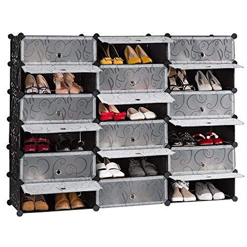 BEST&FAST 18-Cube Shoe Box, Modular Closet Cabinet with Doors, DIY Plastic Storage Organizer (MGGT-Shoe Rack)