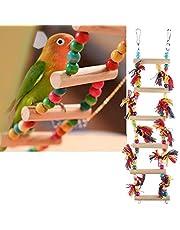 Escaleras de madera para pájaros para escalada, perchas, juguetes y jaula accesorios para pequeños periquitos, cacatúas