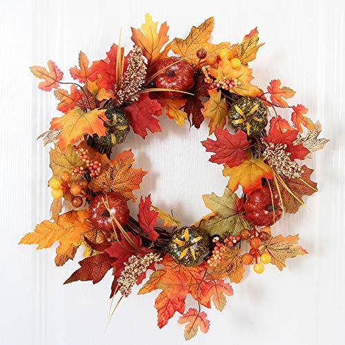 Covok krans, kerstkrans, Halloween Thanksgiving Home Dinner Party Decor, Decoratie deurkrans KüRbis esdoornblad bessen, 40 cm, oranje 2 Dubbele kleur.
