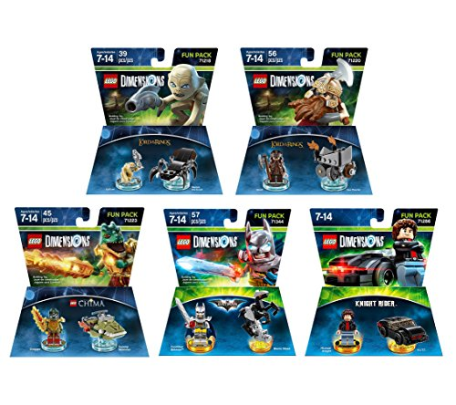 Excalibur Batman + Knight Rider + The Legend Of Chima Cragger + The Lord Of The Rings Gimli & Gollum Fun Packs - LEGO Dimensions - Not Machine Specific