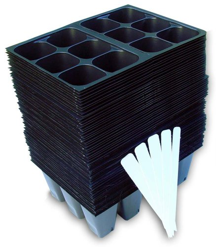 Seedling Starter Trays, 720 Cells: (120 Trays; 6-Cells Per Tray), Plus 5 Plant Labels