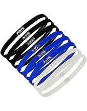 8 Piezas Diadema deportiva hombre, cintas pelo chico (Negro, Azul marino, Gris)