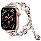 Light Compatible with Apple Watch Band, Elastic Beaded Night Luminous Pearl Beautiful Women Girl Band Strap Compatible with iWatch Series7 6 5 4 3 2 1 SE (Rose Gold/Gold Aluminum, 42mm/44mm(7-9in))