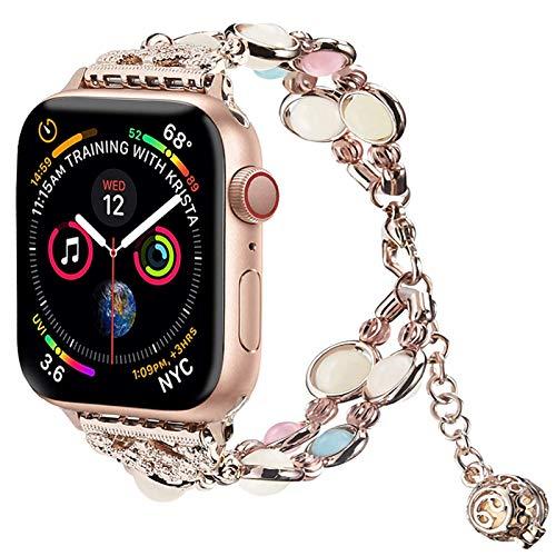 Light Compatible con Correa de Reloj Apple Watch Band 42mm/44mm, Correa Para Mujer Niña Compatible con iWatch Series 6 5 4 3 2 1 SE((Night Rose, 42mm/44mm (7-9in))