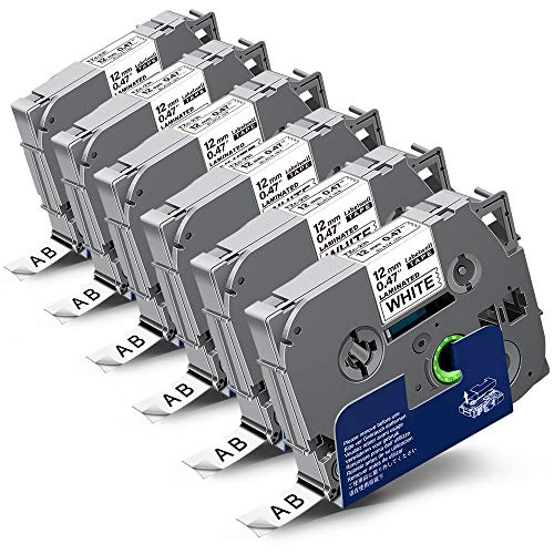 6x Labelwell 0.47 12mm x 8m Sostituzione Nastro Compatibile per Brother Tz Tze-231 Tze231 Tz231 Nero su Bianco per Brother PT-1000 GL-H100 PT-H100LB PT-H101C PT-P700 PT-E100 PT-D600VP D400VP PT-D400