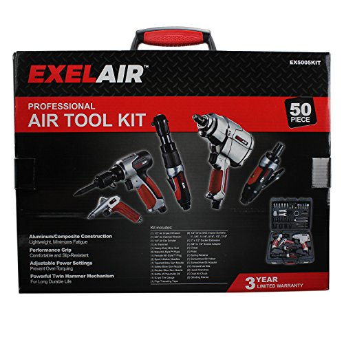 EXELAIR by Milton EX5005KIT (50-Piece Professional Air Tool Accessory Kit) - Impact Wrench, Air Ratchet, Die Grinder, Blow Gun, Air Hammer, Dual Air Chuck, Tire Gauge, and Accessories