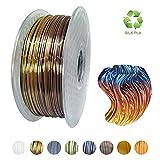 KEHAUSHINA Silk Pla Filament für 1.75mm 3D Drucker und Stifte, Multi Color, Rainbow Like, 1kg Multicolor Spule