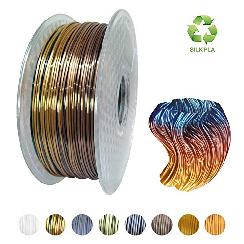 KEHAUSHINA Silk Pla Filament für 1.75mm 3D Drucker und Stifte, Multi Color, Rainbow Like, 1kg Multicolor Spule